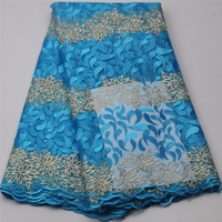Latest Blue African Laces Fabrics Embroidered African Guipure French Lace Fabric Cheap African French Net Lace