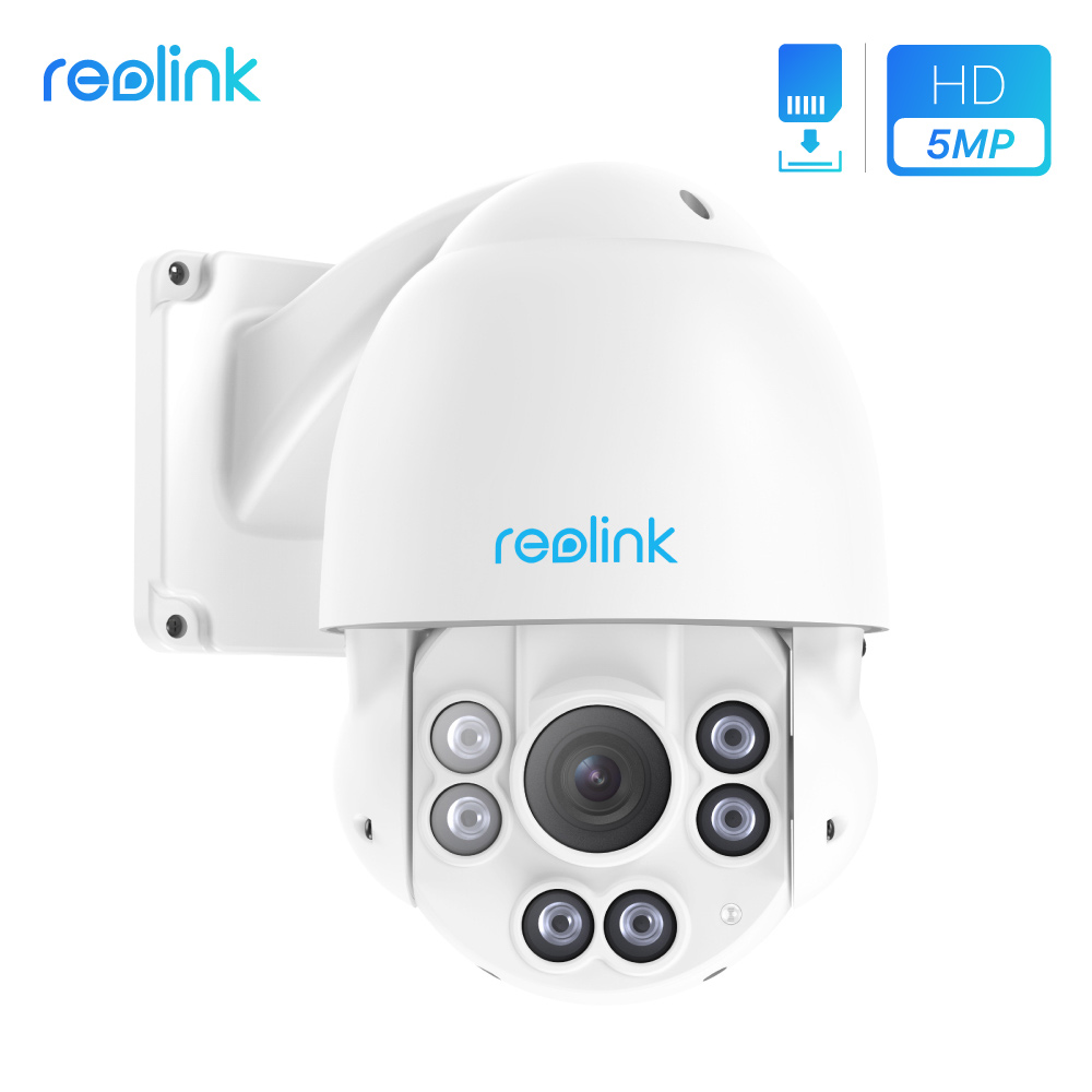 Reolink PTZ IP Camera PoE 5MP 3072*1728 Pan/Tilt 4x Optical Zoom HD Outdoor Motorized Lens Security Cam SD card slot RLC-423-5MP
