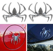 цена на Chuang Qian 1Pair 3D Spider Chrome Emblems Badges Stainless Steel Sticker Silvery for Can am Spyder RT ST RS