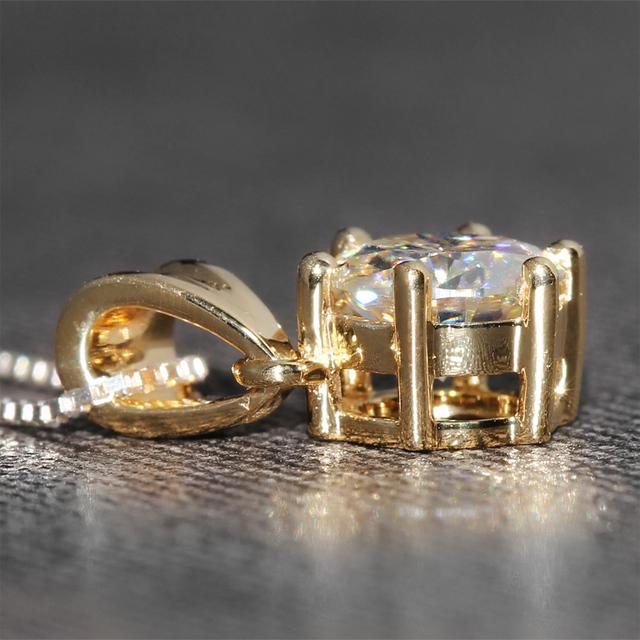18K 750 Yellow Gold 1CT Lab Grown Moissanite Diamond Pendant Necklace