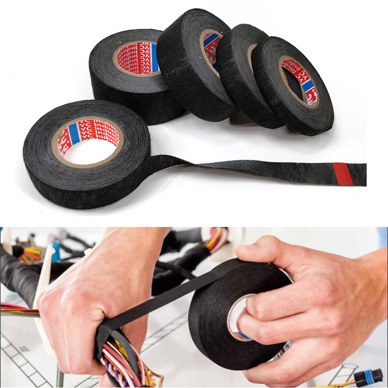 1pc Heat-resistant Wiring Harness Tape Looms Wiring Harness Cloth Fabric Tape Adhesive Cable Protection 9/15/1925/32 Mm X 15M