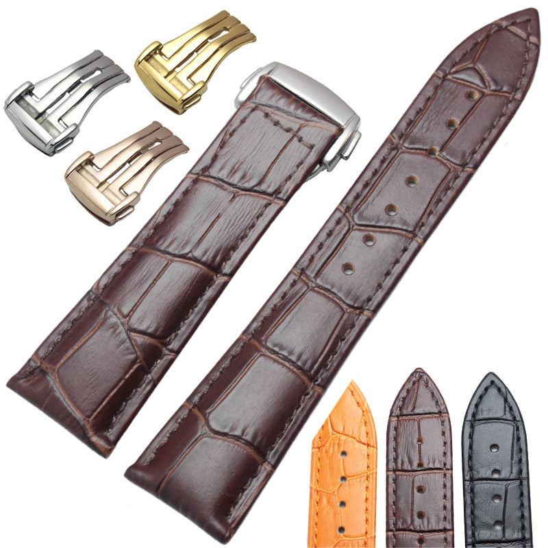 20mm 22mm Genuine Leather Watchbands Wiht Butterfly Deployment Clasp Watch Band Strap Bracelet Replacement Accessories new fashion watchbands ostrich grain genuine leather watch strap band 18 20 22mm men women clock bracelet accessories