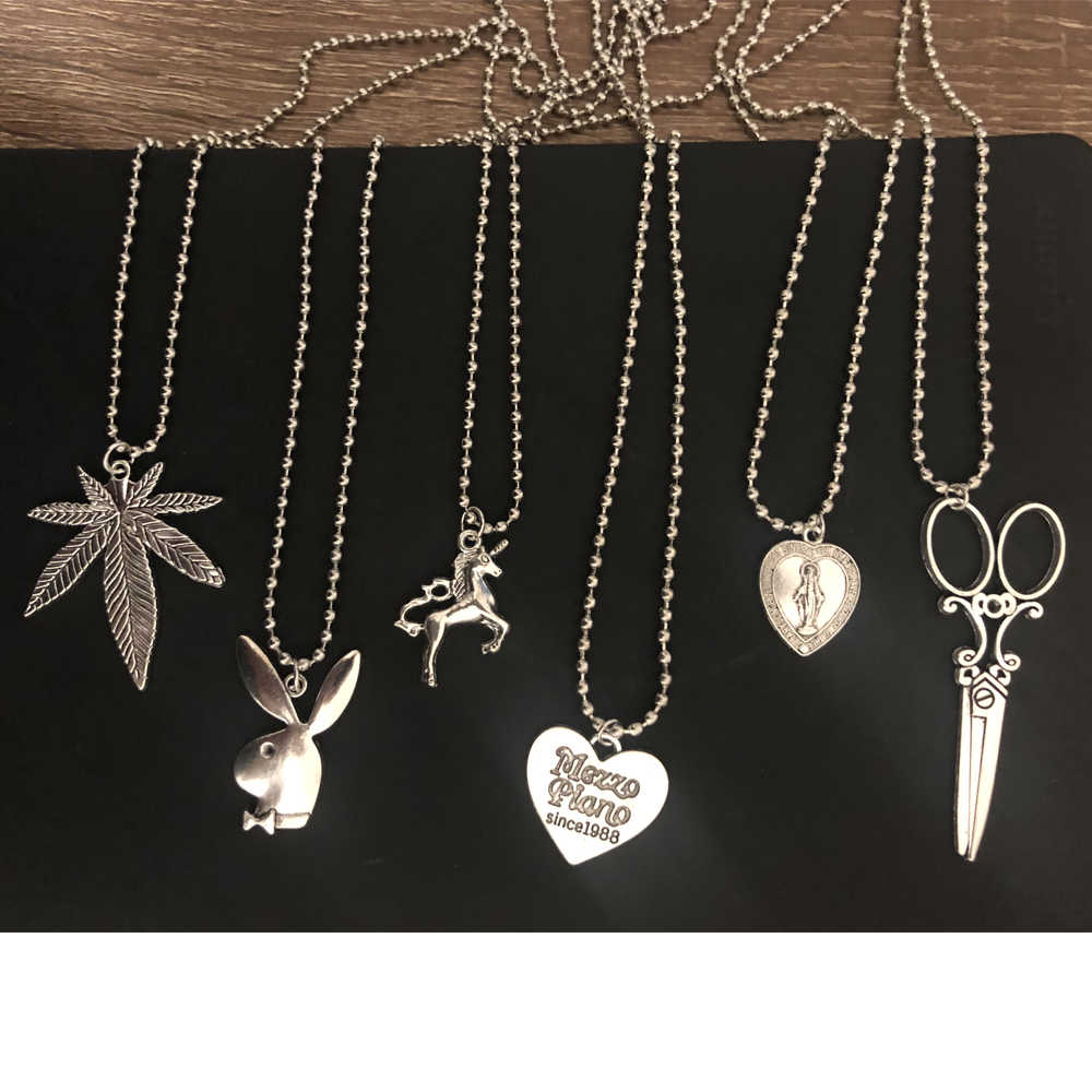 ABC ins the same section of the cross leaf heart Scissors Play rabbit Boy head Stainless Steel Necklace Choker Unicorn LoveJesus