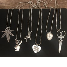 ABC ins the same section of cross leaf heart Scissors Play rabbit Boy head Stainless Steel Necklace Choker Unicorn LoveJesus