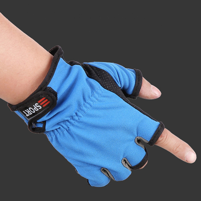 Cheap 1Pair Outdoor Sports Fishing Gloves Polyester Cotton 3 Cut Finger Gloves Anti-Slip Breathable Waterproof Fishing Equipment FO210