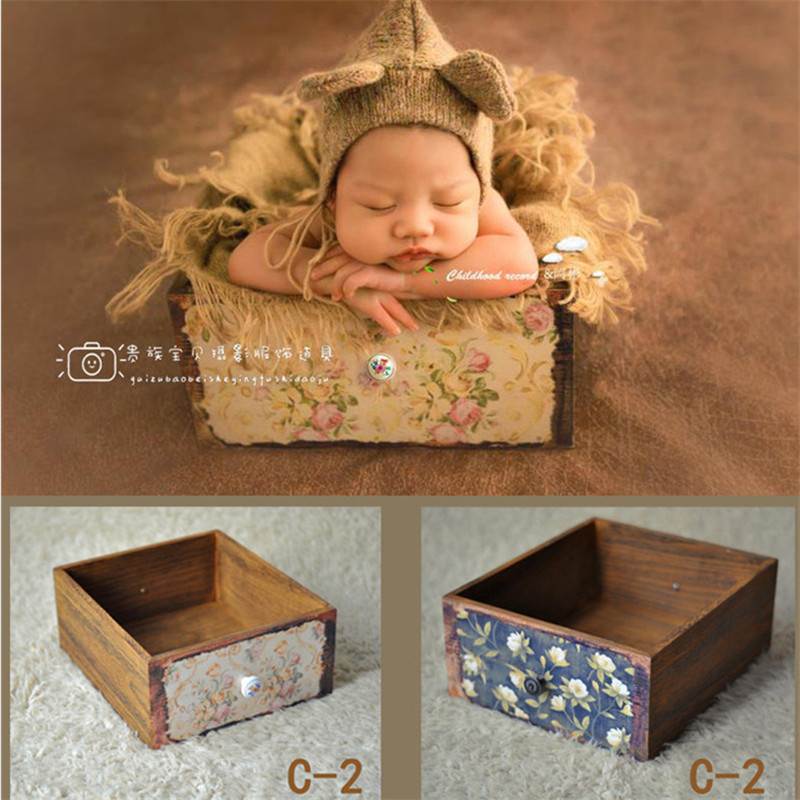 Newborn Photography Props Blanket Wooden Vintage Drawer Frame Baby Photography Props Blanket Girl for Photo Shoot Props Posing