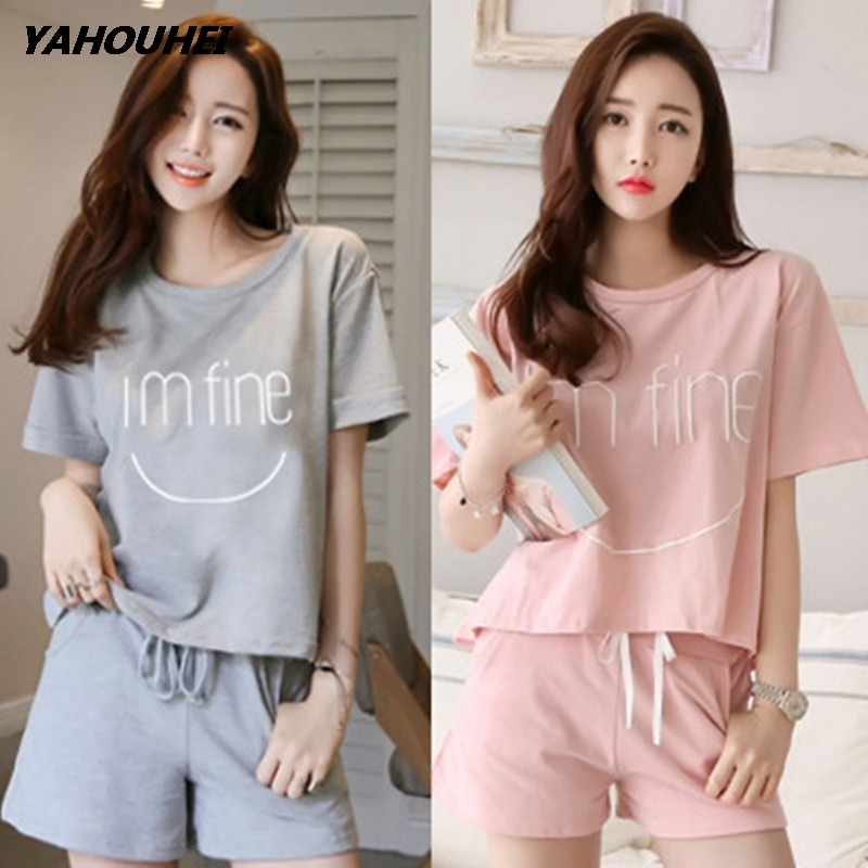 Woman   Pajamas     Sets   Summer Cotton Short Sleeved   Pajamas     Sets   Women Striped   Pajamas   Sweet Girl Sleepwear Cartoon Loungewear Pyjama