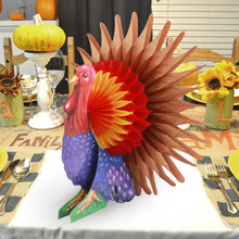 Vintage ThanksGiving Turkey Party Decorations Thanksgiving Day Honeycomb Turkey Table Centerpiece