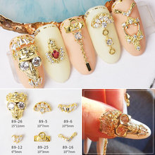 5pcs/lot Luxury Nail Art jewelry Skull Zircon Nail Art High-end Nail Shop Party Alloy Chain Halloween DIY nails Fittings