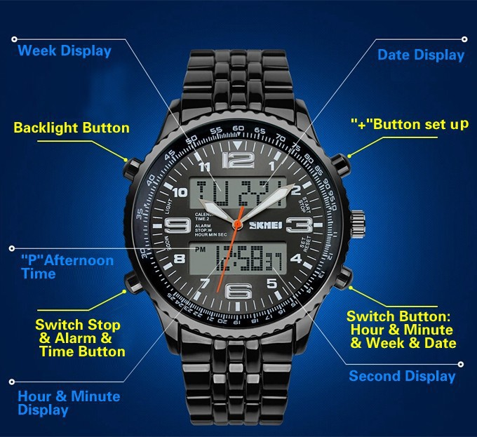 Hot <font><b>Skmei</b></font> Brand LED Digital Watches men luxury brand Military Quartz watch relogio masculino full Stainless Steel men Wristwatch image