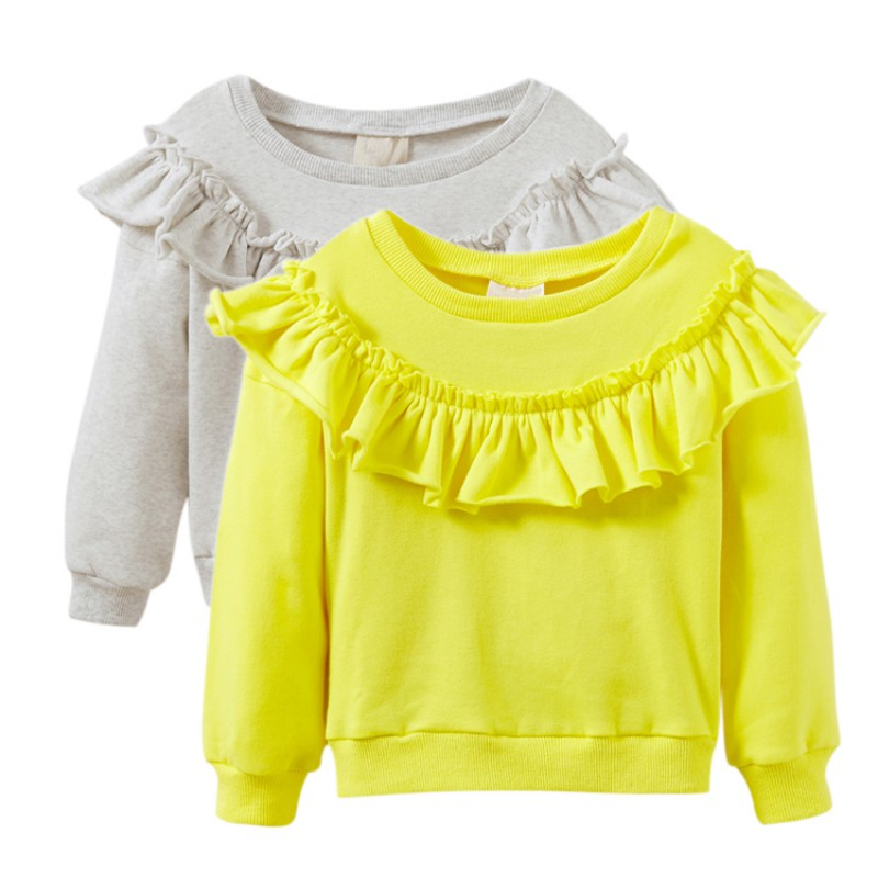 Baby Girl Sports Sweater Petal Sports Fashion Spring Long Sleeve Baby Sweater Sweatshirts Baby Clothes petal sleeve self tie blouse