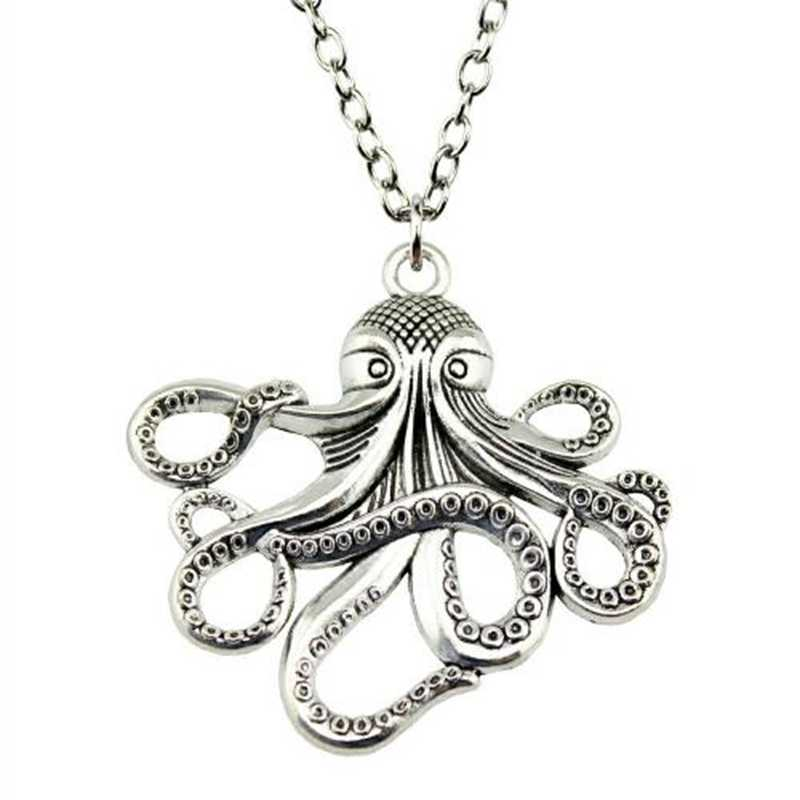 Drop shipping Octopus Pendant Necklace Steampunk Nautical Squid Kraken Pirate antique Silver Jewelry