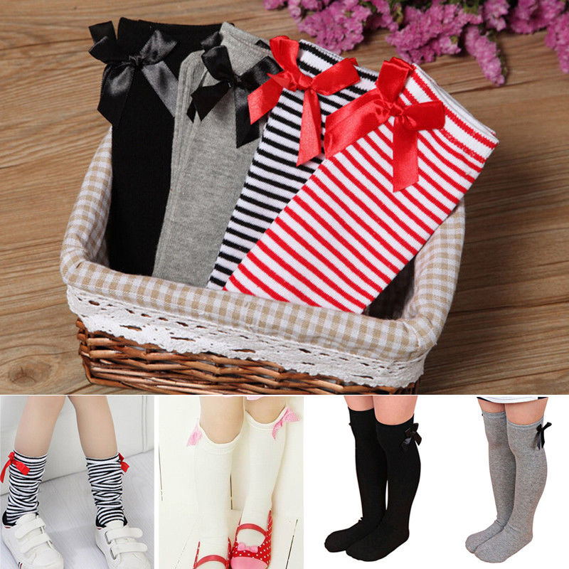 Autumn Lovely Girls Short Stocks Toddler Girls Bow Knee Socks Colors Silk Bow Kids Girls Stocks White Black Striped Age 1-6 Year