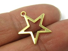 купить Raw brass earrings findings 17mm Raw brass star charms R324 дешево