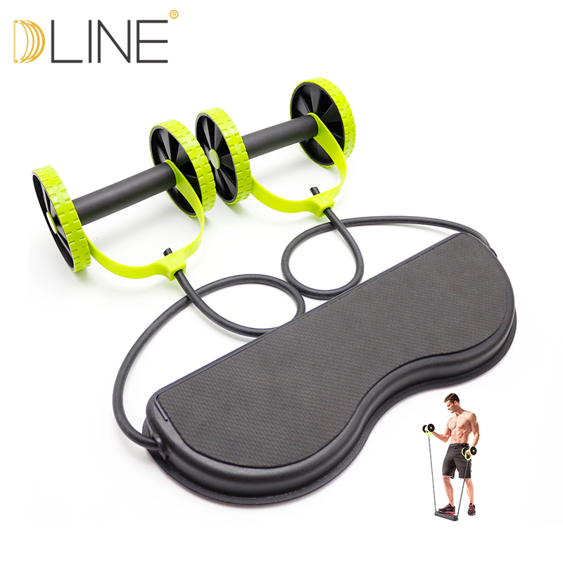 dline Multifunction Dual Wheels Roller Sports Stretch Elastic abdominal wheel Resistance bands Fitness Equipment new arrival high quality exercise equipment professional 4 wheels abdominal ab roller indoor fitness crossfit equipment