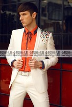 Free ship 100%real mens white shoulder colorful rhinestone beading event/stage performance tuxedo jacket