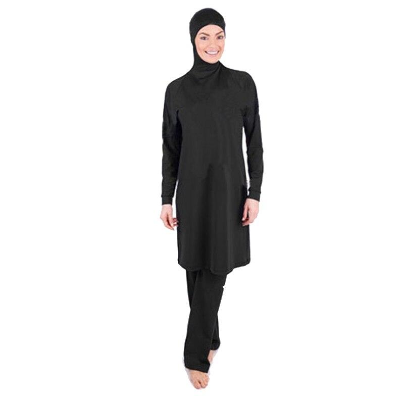 Modest Swimsuits Plus Size Women Burkini Beachwear Islamic Swim Wear Black Muslim Swimwear Full Cover Hijab Swimming 2pcs