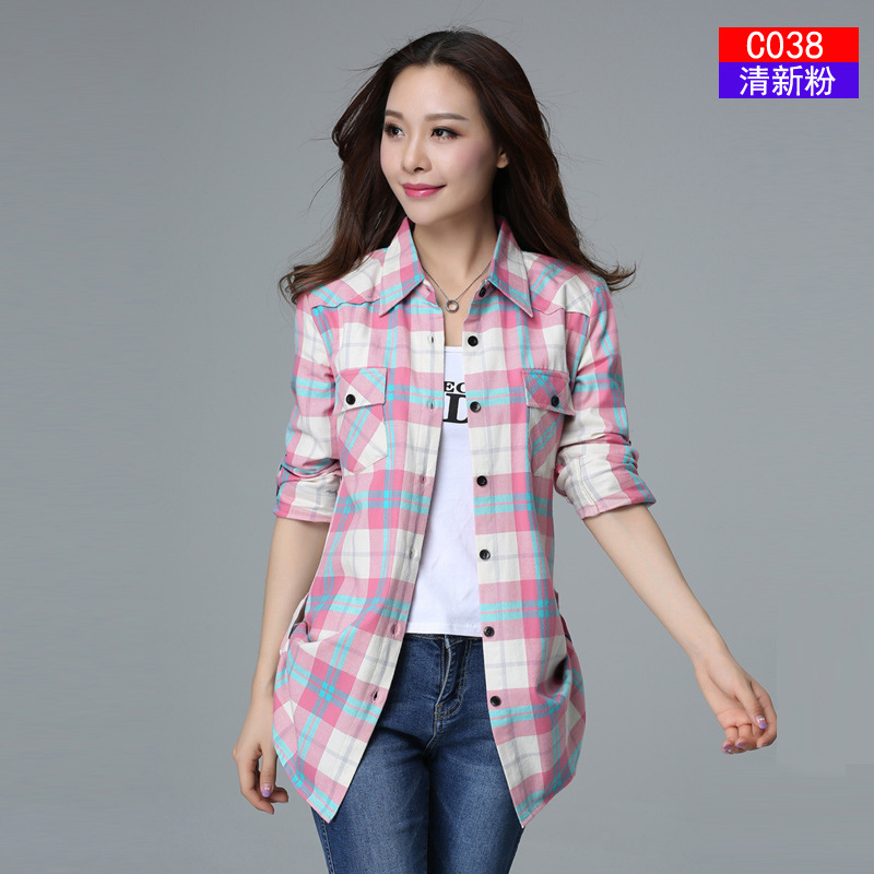 New Hot Sale Women Blouses Long Shirts Single Breasted Plaid Cotton Shirt Wild Casual Streetwear Shirt Women Plus Size Blouse