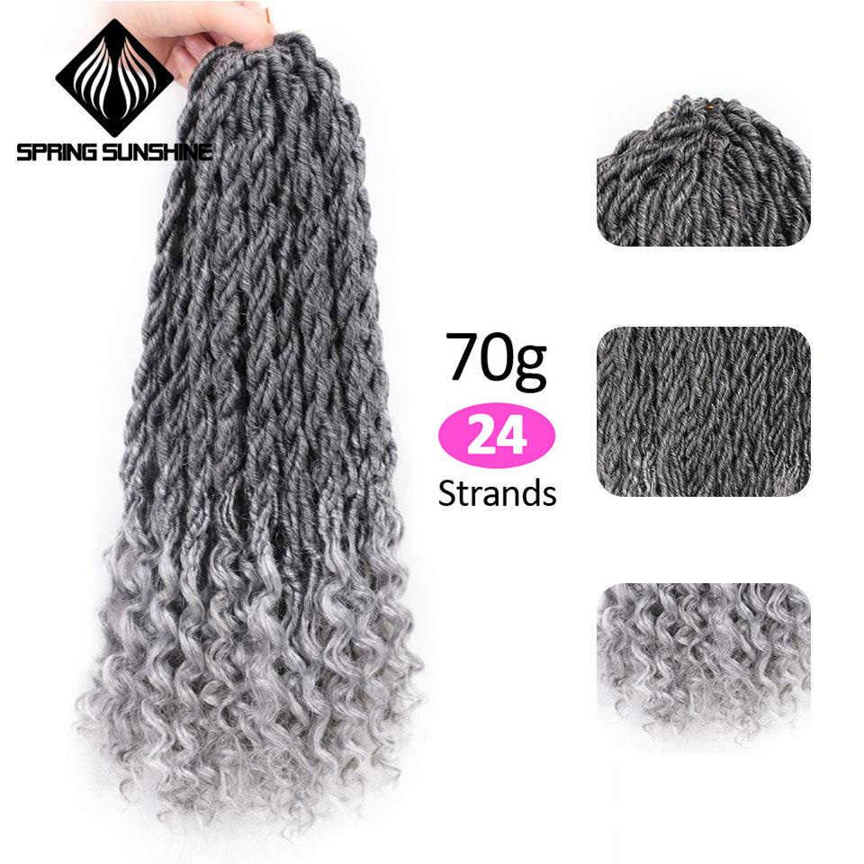 Весенние вязаные крючком волосы для наращивания богемные Faux locs вьющийся кроше плетение волос синтетические волосы Омбре косы