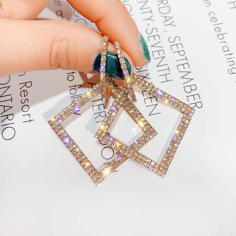 Fyuan Shining Rhinestone Geometrische Drop Oorbellen Voor Vrouwen Meisjes 2019 Nieuwe Bijoux Gold Vierkante Dangle Earring Partij Sieraden Geschenken