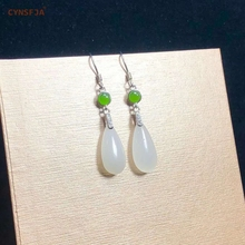Certified Natural Hetian Jade Inlaid With 925 Sterling Silver Lucky Earrings Hand Carved High Quality Wonderful Gifts