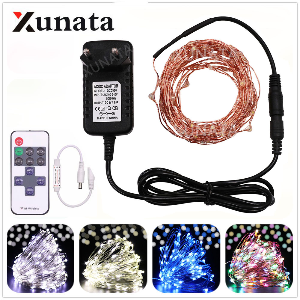 10m/20m/30m/50m 220VEU 110V US Plug Copper Wire Christmas Fairy Light Blue/White/Warm White/Multicolor With 11Key Controller
