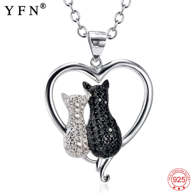 925 Sterling Silver Necklace Jewelry Black & White Crystal Cat Necklaces & Pendants Silver Necklace Jewelry For Women GNX8858