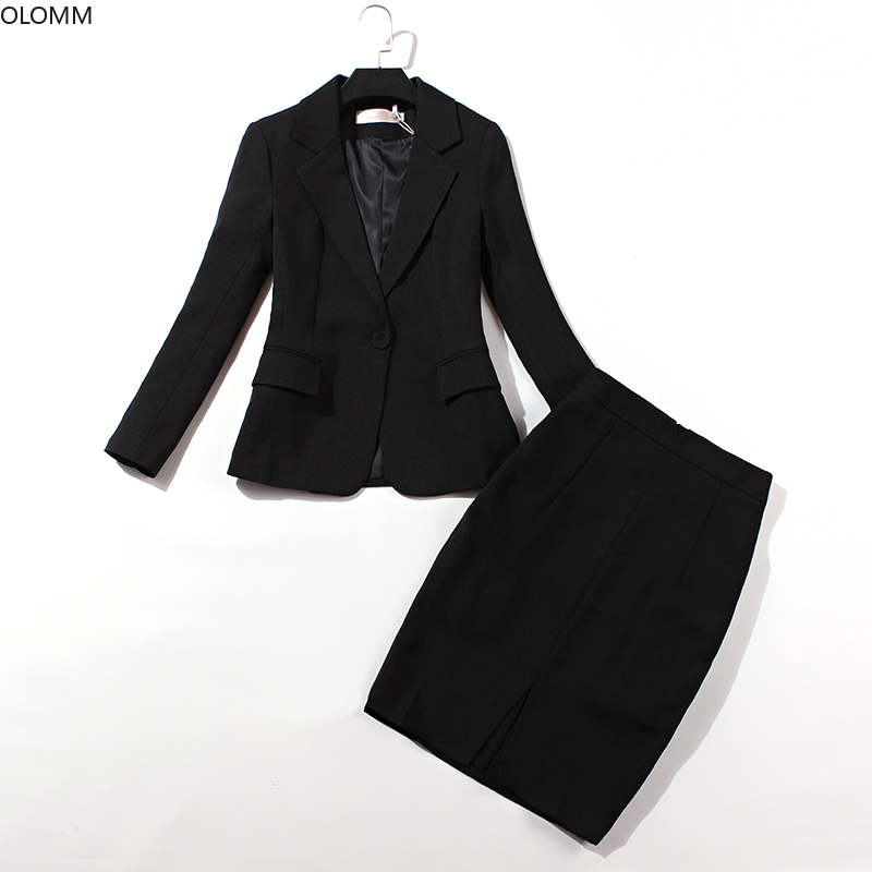 Women's Suits 2019 Autumn New Professional Women's Casual Slim Single Button Black Small Suit Skirt Two-piece Suit