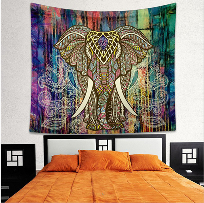 Indian Elephant Tapestry Aubusson Colored Printed Decor Mandala Religious Boho Wall Carpet Bohemia Beach Blanket Plus Tapestry