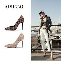 Aimigao острый носок Для женщин моды социальной вечерние ботинки на каблуках 2018 новые весенние плед тканые ткани смешанных Цвет обувь на шпиль