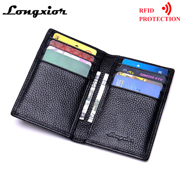 MRF17 Slim Leather ID/Credit Card Holder Bifold Front Pocket Wallet with RFID Blocking Business card holder 100% genuine leather