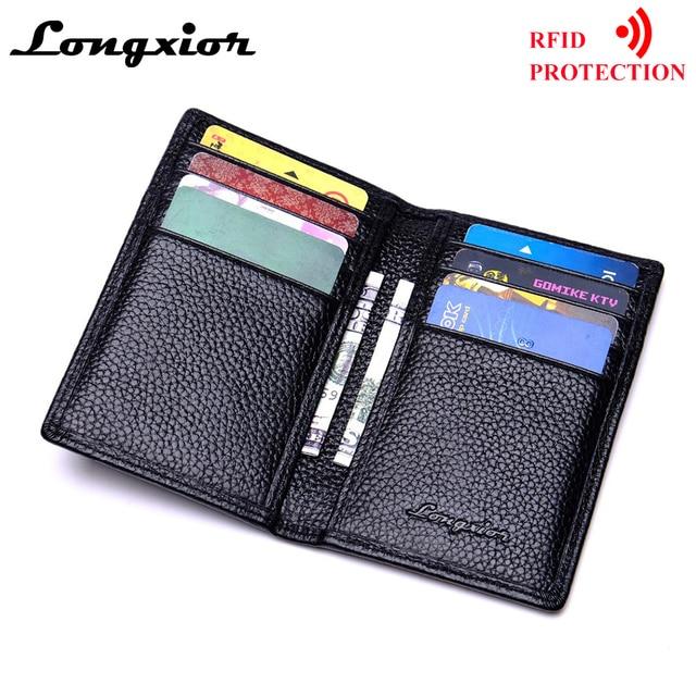 4a8179988f0 MRF17 Slim Leather ID Credit Card Holder Bifold Front Pocket Wallet with  RFID Blocking Business card holder 100% genuine leather
