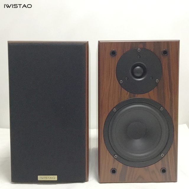 IWISTAO Bookshelf HIFI Speakers Home 1 Pair High Sensitivity Super Bass Speaker Density Board Wooden