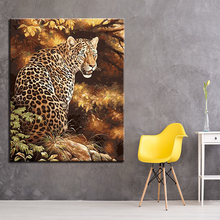 Animals Leopard Gaze Picture By Numbers DIY Painting Kits Hand paited On Linen Canvas Modern Home Decorative Wall Artwork