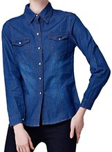 Abetteric Women's Long Sleeve Classic Denim Shirt Blouse