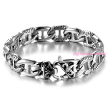 Fashion Gift 14mm Silver Gold Tone 316L Stainless Steel Curb Link Curved Mens Chain Bracelet Wholesale