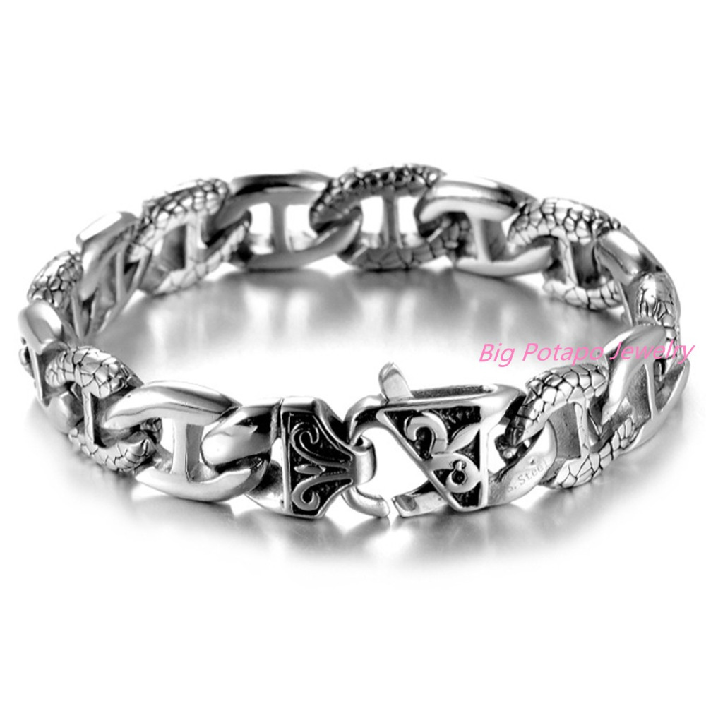 Fashion Gift 14mm Silver font b Gold b font Tone 316L Stainless Steel Curb Link Curved