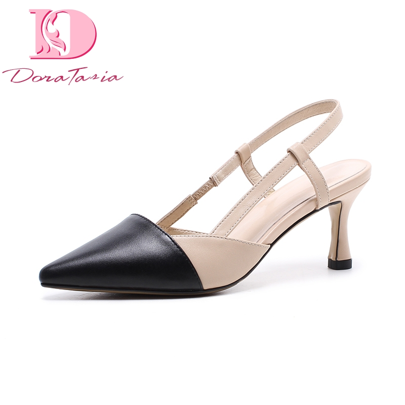 DoraTasia Large Size 33-40 Cow Genuine Leather Pointed Toe Women Sandals Mix Color Buckle Strap Shoes Woman Thin High Heels lapolaka cow genuine leather mix color spring summer pointed toe women shoes pumps thin high heels shoes woman