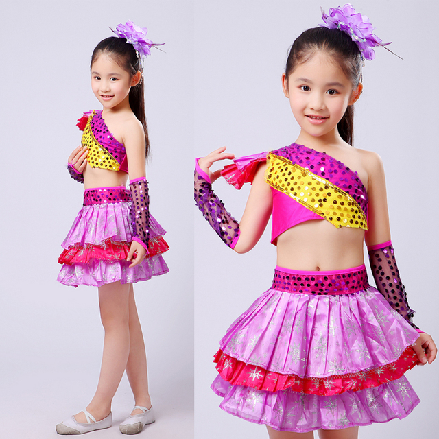 3f5aa5c4f Purple Girls Sequined Modern dance dress Kids Party dancewear costumes  Outfits Children Ballroom Jazz Hip Hop