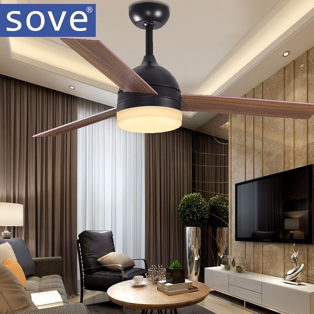 Modern Vintage Black Ceiling Fan With Lights Remote Control 220 Volt Led Light Bulbs Bedroom