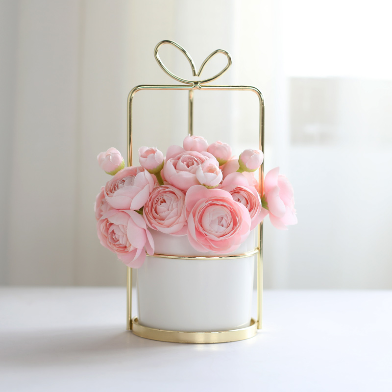 1pc Modern Ceramic Planter with Iron Gold Shelf White Porcelain Flowerpot Home Decor Water Planting Vase
