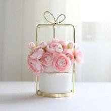 1 шт современная керамика кашпо с железной Gold полочная белый фарфор горшок Home Decor водное растение ваза без отверстия