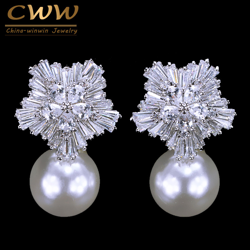 CWWZircons 2018 New Arrival Snow Flower Design Women Big Drop White Pearl Earrings With Cubic Zirconia Christmas Gift  CZ069