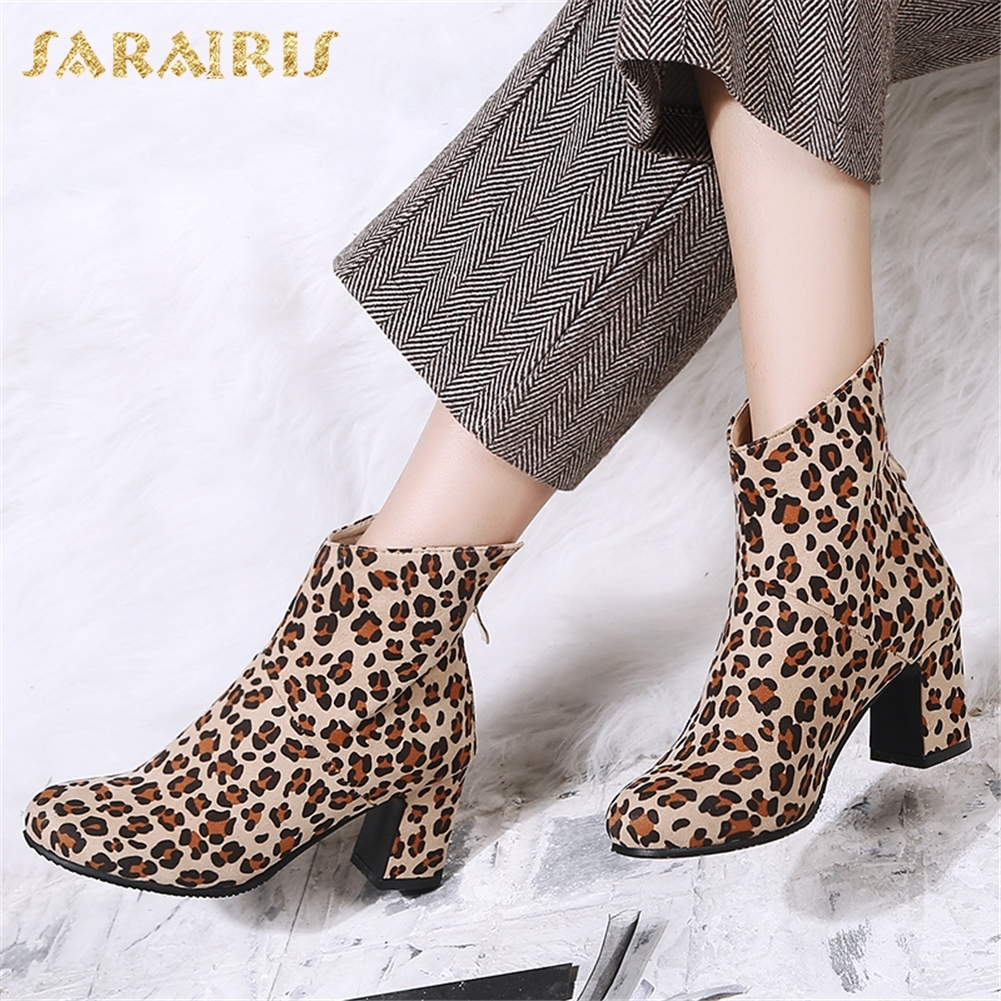 SARAIRIS 2018 Plus Size 33-47 Dropship Zip Up Ankle Boots Woman Shoes Chunky Heels New Fashion Shoes Women Boots sarairis new plus size 32 43 sequin add fur winter boots woman new fashion dropship zip up ankle boots woman shoes woman