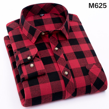 EYM Brand Flannel Plaid Shirt Men Cotton 2018 Autumn New Male Casual Long Sleeve Shirt Plus size High Quality Warm Man Clothes 3
