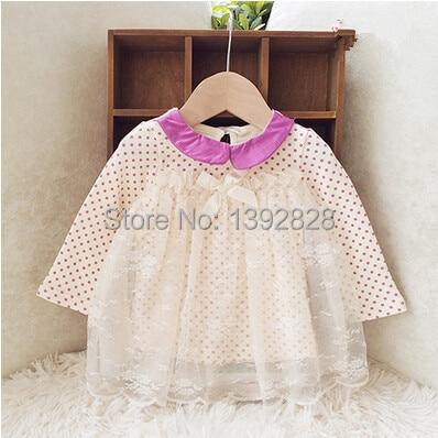 2015 New cotton lace dot baby girls dress baby Dress newborn kids baby clothes infant girls princess dresses roupas de bebe