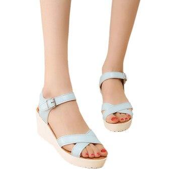 Women Outdoor Round Toe Platform High Heels Wedges Sandals Buckle Slope Shoes  shoes woman platform roman sandals  #H3 римские сандали