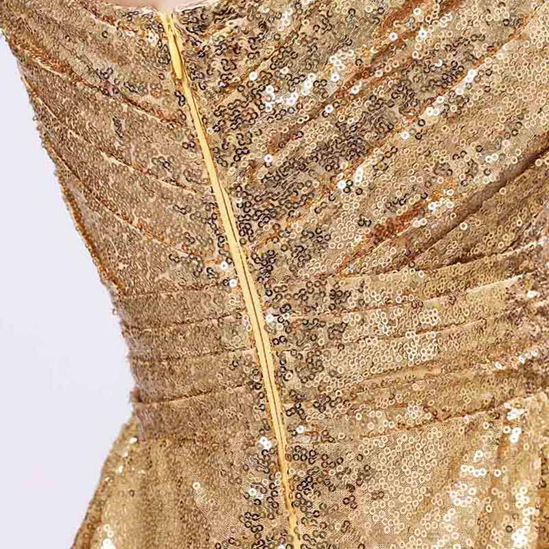 One Shoulder Gold Sequin Bridesmaid Dresses Cheap A Line Maid of Honor Dress Women Plus Size Long Pageant Party Gowns OS421 8