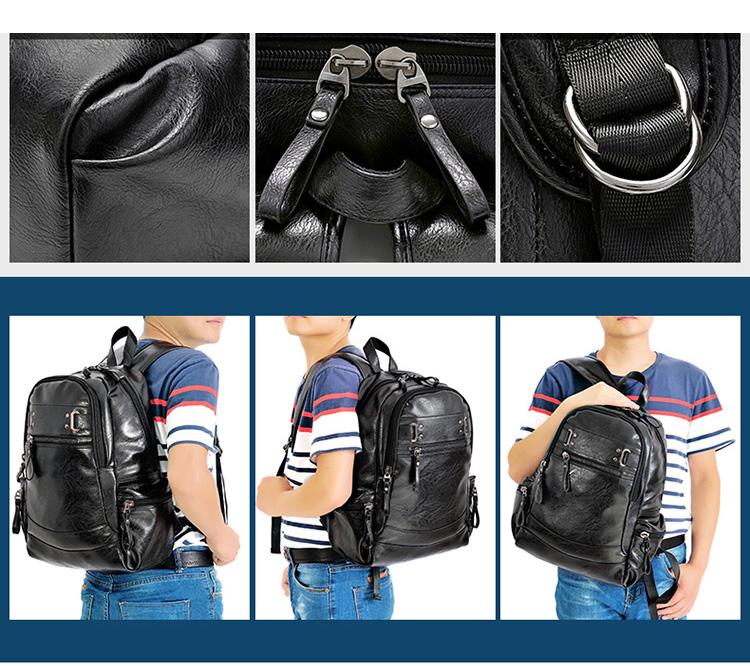 b4378d2e1183 AHRI Men Business Casual Backpacks for School Travel Bag Black PU Leather  Men s Fashion Shoulder Bags Vintage Boys Men Backpack USD 20.72 piece