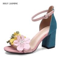 2018 summer New Elegant flower women sandals high heels sandals open toe summer shoes woman white pink blue ladies shoes large